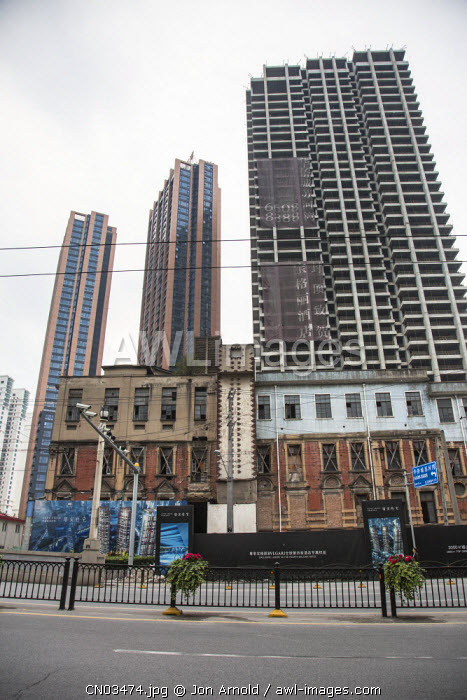 Apartments being built in central Shanghai, China