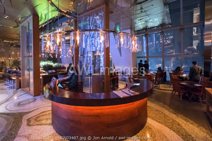 100 Century Avenue bar on the 91st floor of the Park Hyatt in the Shanghai World Finance Center, Shanghai, China
