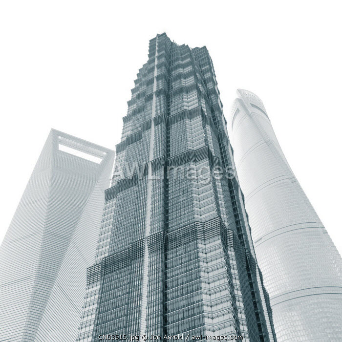 Jin Mao Tower, Shanghai Tower and Shanghai World Finance Center, Lujiazui, Pudong, Shanghai, China