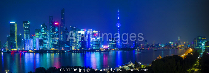 Pudong skyline across the Huangpu river, The Bund, Shanghai, China