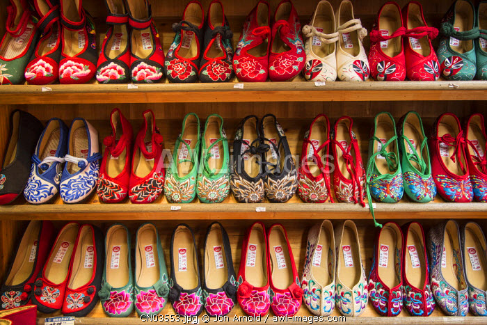 Slippers displayed in a shop, Qibao, Shanghai, China