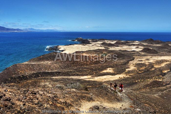 View from crater Montana de Caldera towards Lanzarote, Lobos Island, Fuerteventura, Canary Islands, Spain
