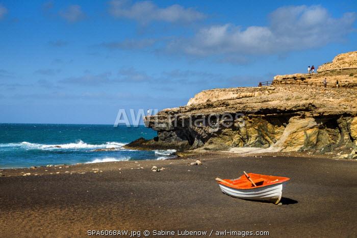 Boat on the beach, Puerto de la Pena, Ajuy, Fuerteventura, Canary Islands, Spain