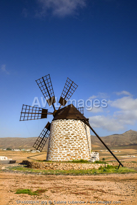Wind mill, Molino de Tefía, Tefia, Fuerteventura, Canary Islands, Spain