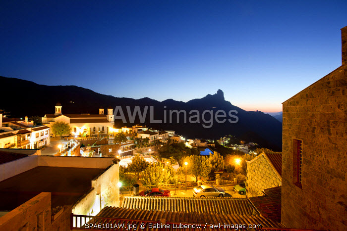 Night view of Tejeda and Roque Bentayga, Gran Canaria, Canary Islands, Spain