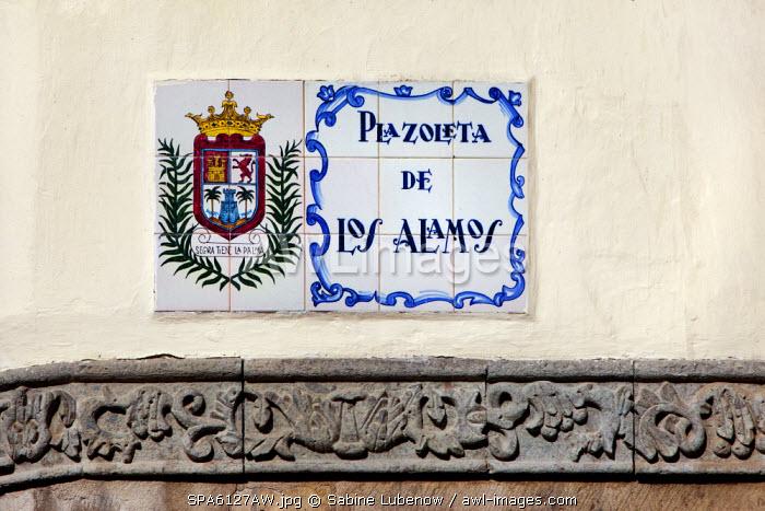Road sign, old town, Vegueta, Las Palmas, Gran Canaria, Canary Islands, Spain