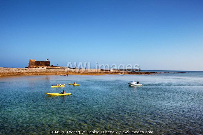 Kayaks, Castillo de San Gabriel, Arrecife, Lanzarote, Canary Islands, Spain