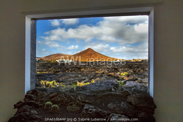 View out of a window, Fundacion Cesar Manrique, Tahiche, Lanzarote, Canary Islands, Spain