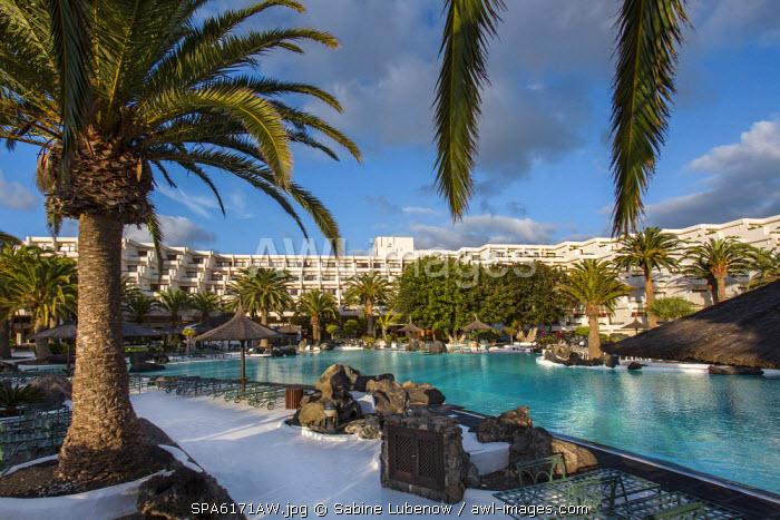 Pool, Hotel Melia Salinas, architect Cesar Manrique, Costa Teguise, Lanzarote, Canary Islands, Spain