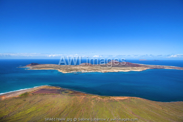 View from Mirador del Rio towards La Graciosa Island, architect Cesar Manrique, Lanzarote, Canary Islands, Spain