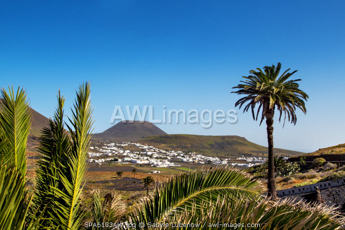 View towards vulcano Monte Corona, Risco de Famara, Lanzarote, Canary Islands, Spain