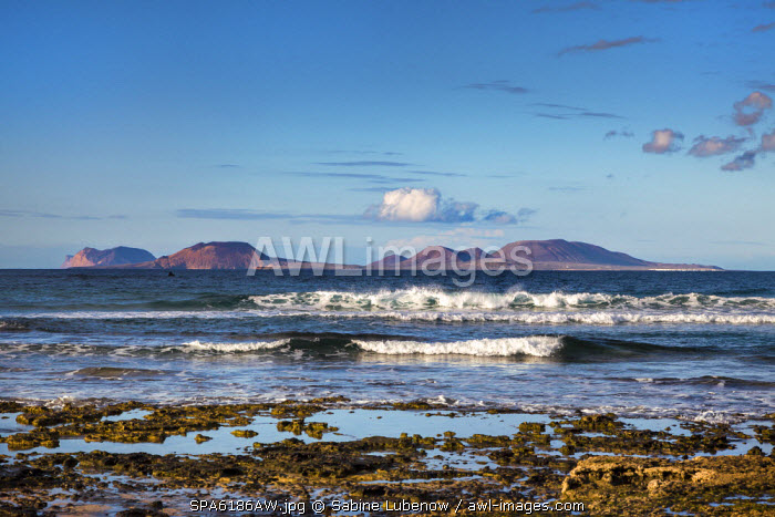 View towards La Graciosa Island from Playa de Famara, Lanzarote, Canary Islands, Spain