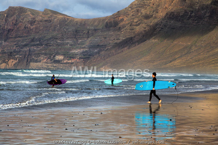 Surfer, La Caleta de Famara, Lanzarote, Canary Islands, Spain