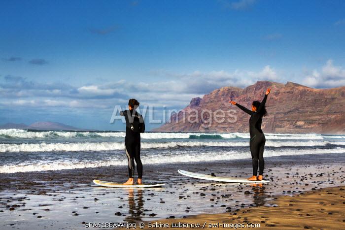 Surfer, La Caleta de Famara, Lanzarote, Canary Islands, Spain