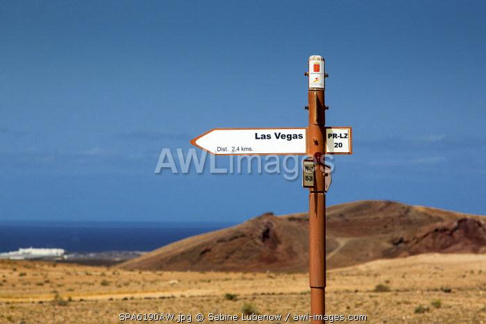 Road sign to Las Vegas, Tinajo, Lanzarote,Canary Islands, Spain