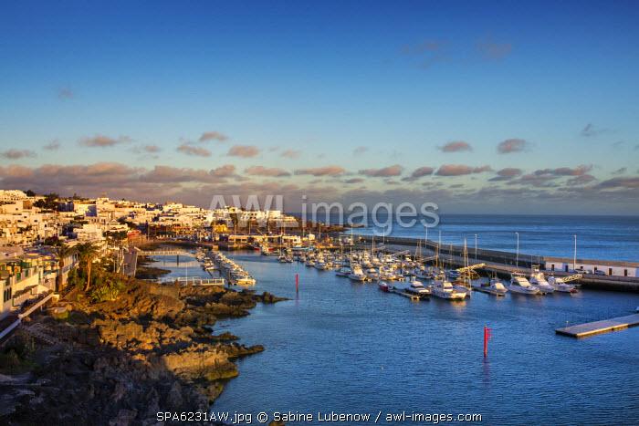 View towards harbour La Tinosa, El Puerto, Puerto del Carmen, Lanzarote, Canary Islands, Spain