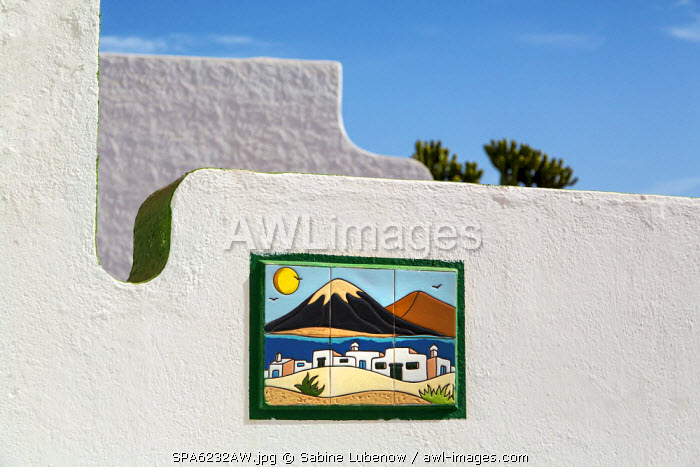Tiled picture on wall, Puerto del Carmen, Lanzarote, Canary Islands, Spain