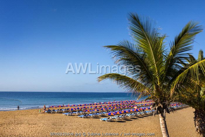 Beach Playa Grande, Puerto del Carmen, Lanzarote, Canary Islands, Spain