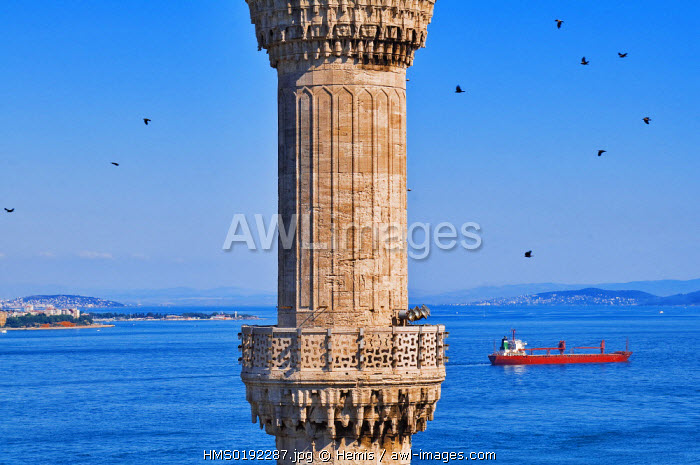 Turkey, Istanbul, Sultanahmet District, cargo ship in the Bosphorus or Istanbul strait, and minaret of Sultan Ahmet Camii (Blue Mosque)