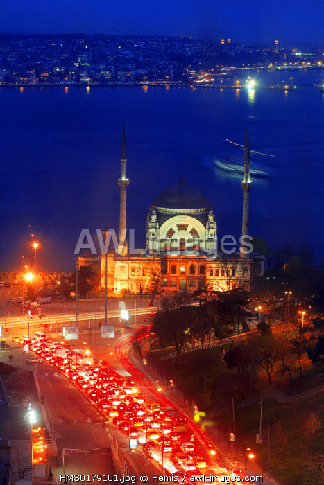 Turkey, Istanbul, Dolmabahce Mosque dating from 1853 on the West Bosphore bank