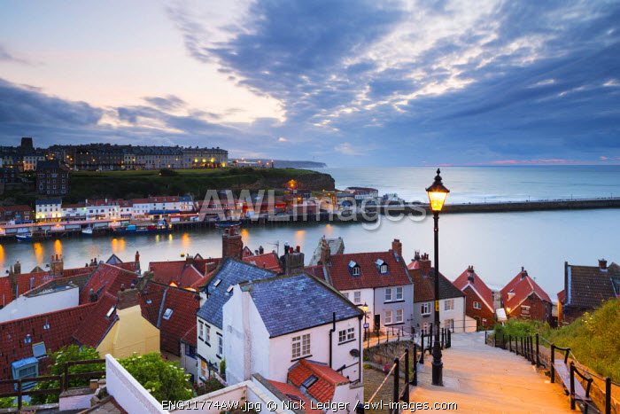 United Kingdom, England, North Yorkshire, Whitby. The harbour and 199 Steps.