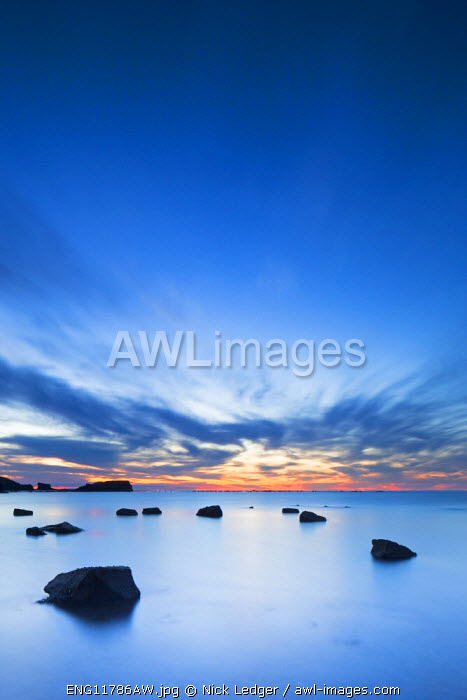 United Kingdom, England, North Yorkshire, Whitby. Midsummer after sunset at Saltwick Bay.