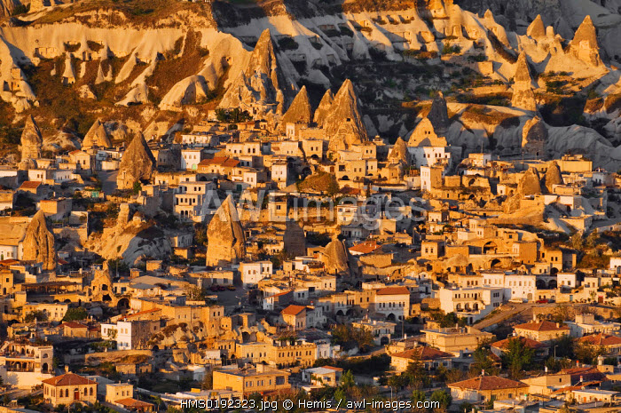 Turkey, Central Anatolia, Cappadocia, listed as World Heritage by UNESCO, Goreme village (aerial view)