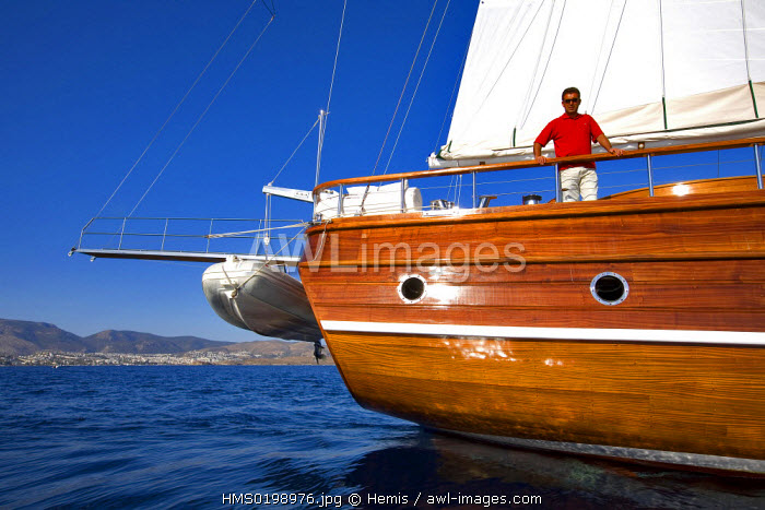 Turkey, Aegean coast, Bodrum, Lady Christa Gulet (traditional Turkish sailing boat)