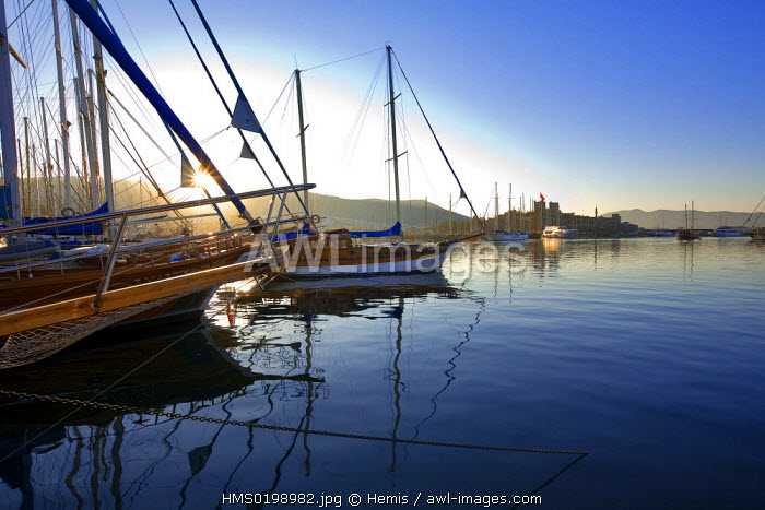 Turkey, Aegean Region, Bodrum, St Peter Castle and the harbor