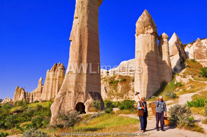 Turkey, Central Anatolia, Cappadocia, listed as World Heritage by UNESCO, near U�hisar village, Mehmet Sisman and Mehmet Bektas work in the fields of Asiklar Vadisi (Asiklar Valley)