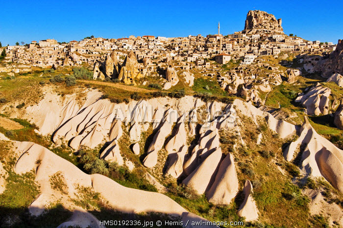 Turkey, Central Anatolia, Cappadocia, listed as World Heritage by UNESCO, Uchisar village, hills of tuff and cave dwellings
