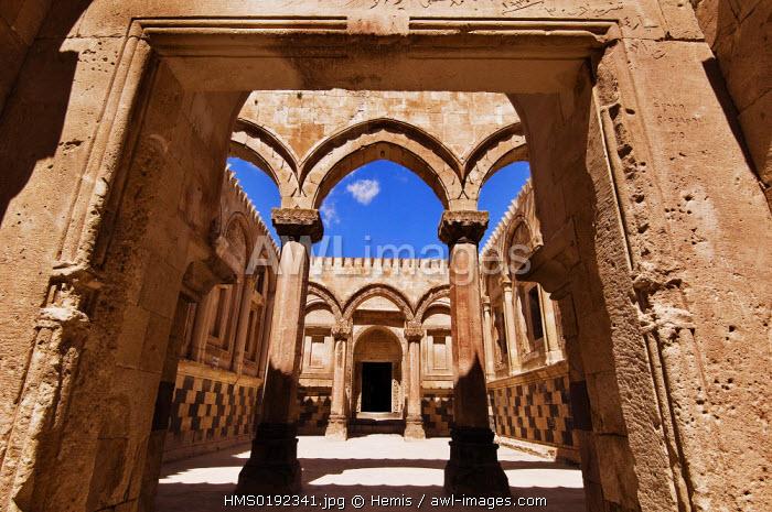 Turkey, Eastern Anatolia, village of Dogubayazit, lshak Pacha Palace (Ishak Pasa Sarayi) listed as World Heritage by UNESCO, courtyard