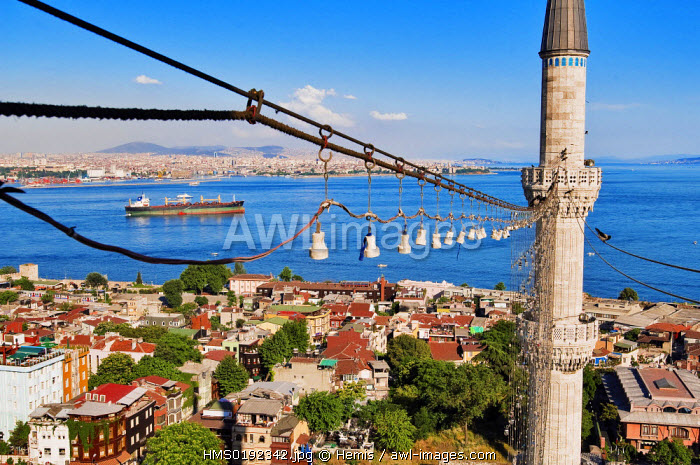 Turkey, Istanbul, historical centre listed as World Heritage by UNESCO, Sultanahmet District, cargo ship in the Bosphorus or Istanbul Strait, and minarets of Sultan Ahmet Camii (Blue Mosque)