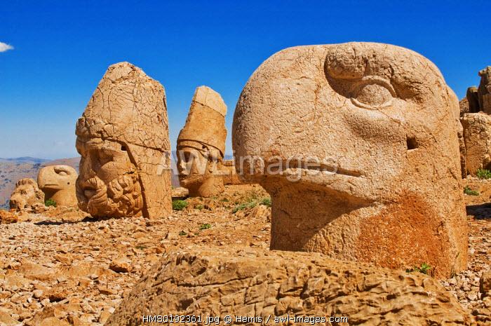 Turkey, Eastern Anatolia, Nemrut Dag (Mount Nemrut), listed as World Heritage by UNESCO, Antiochos Sanctuary, eastern terrace