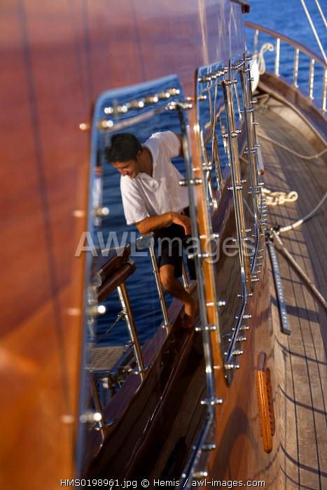 Turkey, Aegean coast, Bodrum, Lady Christa Gulet (traditional Turkish sailing boat)