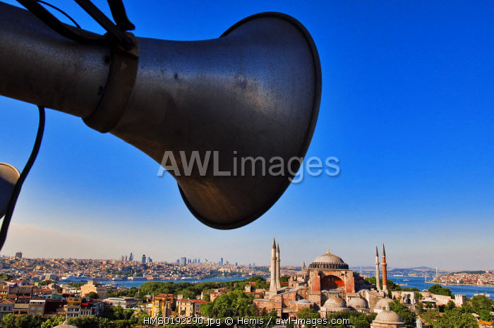 Turkey, Istanbul, historical centre listed as World Heritage by UNESCO, Sultanahmet District, Hagia Sophia Basilica seen from a minaret Sultan Ahmet Camii (Blue Mosque)