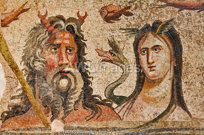 Turkey, Eastern Anatolia, Gaziantep, museum of Gaziantep, mosaic of Belkis Zeugma site