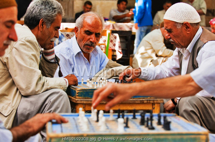 Turkey, Eastern Anatolia, Sanliurfa, Guhrukculer Hani square, chess players