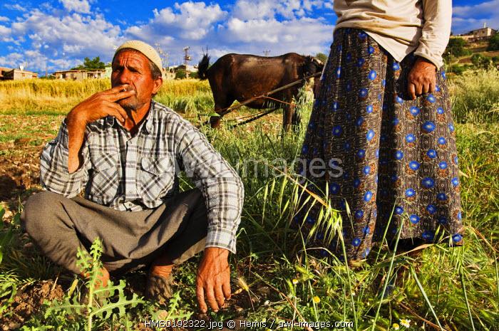 Turkey, Eastern Anatolia, Nemrut Dagi (Mount Nemrut), Kurdish farmers