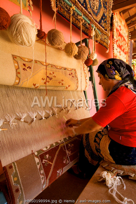 Turkey, Aegean Coast, near Marmaris, handcrafted carpet