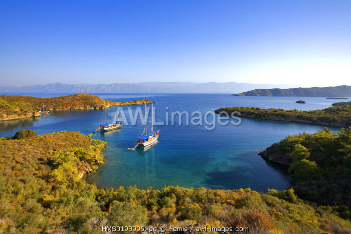 Turkey, Aegean coast, Gulf of Gokova east of Bodrum, Gulet (traditional Turkish sailing boat) mooring at Tuzla Bay