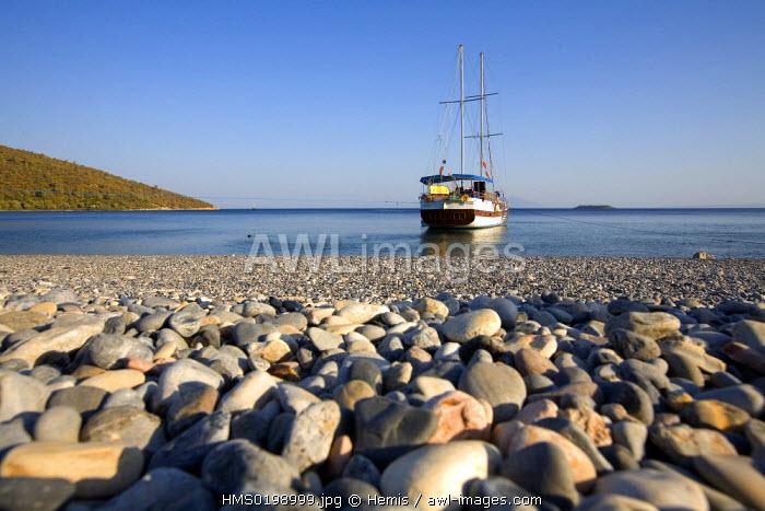 Turkey, Aegean coast, Gulf of Gokova east of Bodrum, Gebekiste Bay, Gulet (traditional Turkish sailing boat)