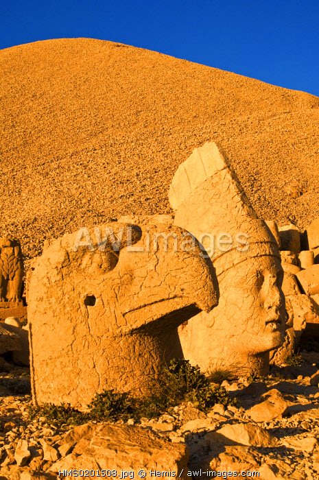 Turkey, Eastern Anatolia, Nemrut Dagi (Mount Nemrut), listed as World Heritage by UNESCO, Antiochos Sanctuary, eastern terrace