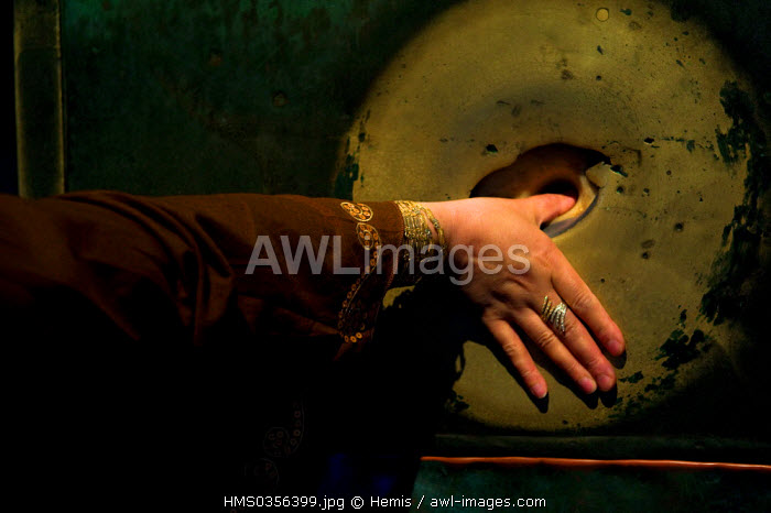 Turkey, Istanbul, historical centre listed as World Heritage by UNESCO, Sultanahmet District, Hagia Sophia Basilica, to realize a wish, it is necessary to put the hand opened to 360 degrees and place the thumb in the hole without taking away the hand