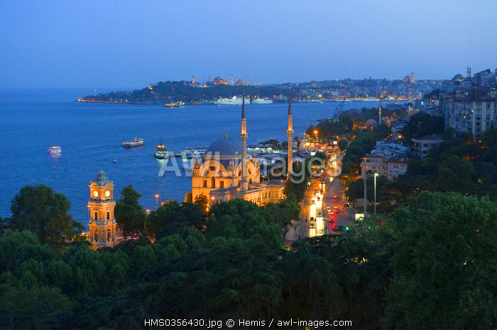 Turkey, Istanbul, Bosphorous Strait, Besiktas District, Dolmabahce Mosque, Golden Horn in the background