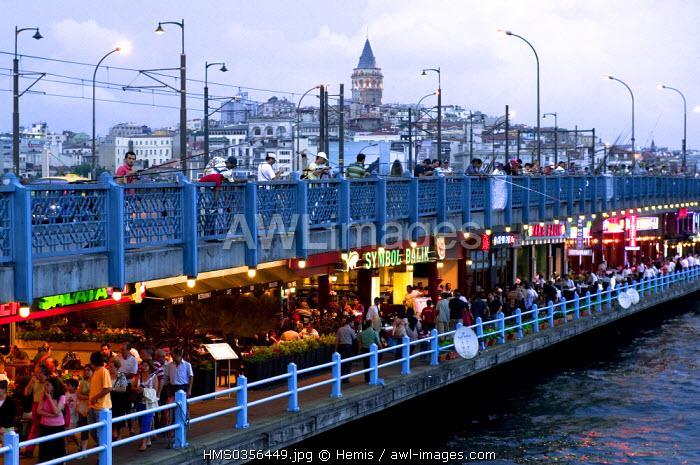 Turkey, Istanbul, Galata Bridge over the Golden Horn Strait