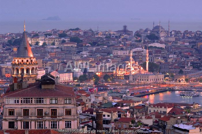Turkey, Istanbul, Beyloglu District, Galata Tower in the foreground