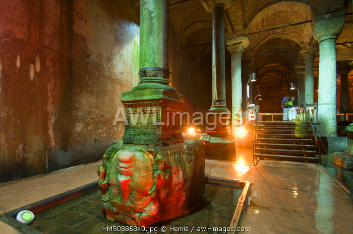 Turkey, Istanbul, historical centre listed as World Heritage by UNESCO, Sultanahmet District, Yerebatan Palace, ancient cistern lying beneath the ground built by Byzantine Emperor Justinian, reused head coming from an ancient archaeological site