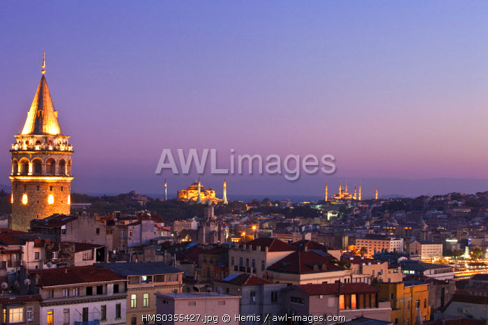 Turkey, Istanbul, Beyoglu, Tunel District, Galata Tower, Haghia Sophia Basilica on the left and Sultan Ahmet Camii (Blue Mosque) on the right
