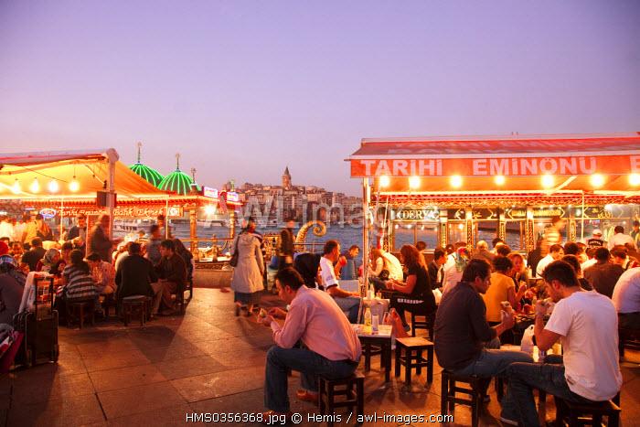 Turkey, Istanbul, Eminonu District, Eminonu harbour, fish restaurants on the Golden Horn Strait